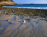 Sand and rock patterns on the shore at Sand Beach; Acadia National Park, ME