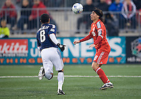 22 April 2009: Chivas USA defender Mariano Trujillo #8 looks on as Toronto FC forward Pablo Vitti #8 handles the ball during MLS action at BMO Field in Toronto in a  game between Chivas USA and Toronto FC. Toronto FC won 1-0.