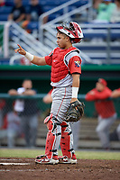 Williamsport Crosscutters catcher Rafael Marchan (13) signals to the defense during a game against the Batavia Muckdogs on June 22, 2018 at Dwyer Stadium in Batavia, New York.  Williamsport defeated Batavia 9-7.  (Mike Janes/Four Seam Images)