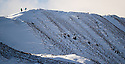 12/02/18<br /> <br /> Hikers walk along Rushup Edge near Edale in the Derbyshire Peak District.<br /> <br /> All Rights Reserved F Stop Press Ltd. +44 (0)1335 344240 +44 (0)7765 242650  www.fstoppress.com