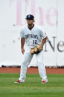 Lake County Captains outfielder Logan Vick (12) during a game against the Dayton Dragons on June 8, 2014 at Classic Park in Eastlake, Ohio.  Lake County defeated Dayton 4-2.  (Mike Janes/Four Seam Images)