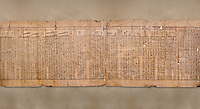 "Anciient Egyptian Book of the Dead papyrus - Spell 30 for stopping the heart betraying the deceased at the tribunal of Osiris, Iufankh's Book of the Dead, Ptolemai period (332-30BC).Turin Egyptian Museum. <br /> <br /> the spell reads ' Stand not against me as a witness, oppose me not in the Council, act not against me before the gods, outweigh me not before the great God, the Lord os the West""<br /> <br /> The translation of  Iuefankh's Book of the Dead papyrus by Richard Lepsius marked a truning point in the studies of ancient Egyptian funereal studies."