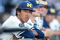 Michigan Wolverines pitcher Isaiah Paige (25) before Game 1 of the NCAA College World Series Finals on June 24, 2019 at TD Ameritrade Park in Omaha, Nebraska. Michigan defeated Vanderbilt 7-4. (Andrew Woolley/Four Seam Images)