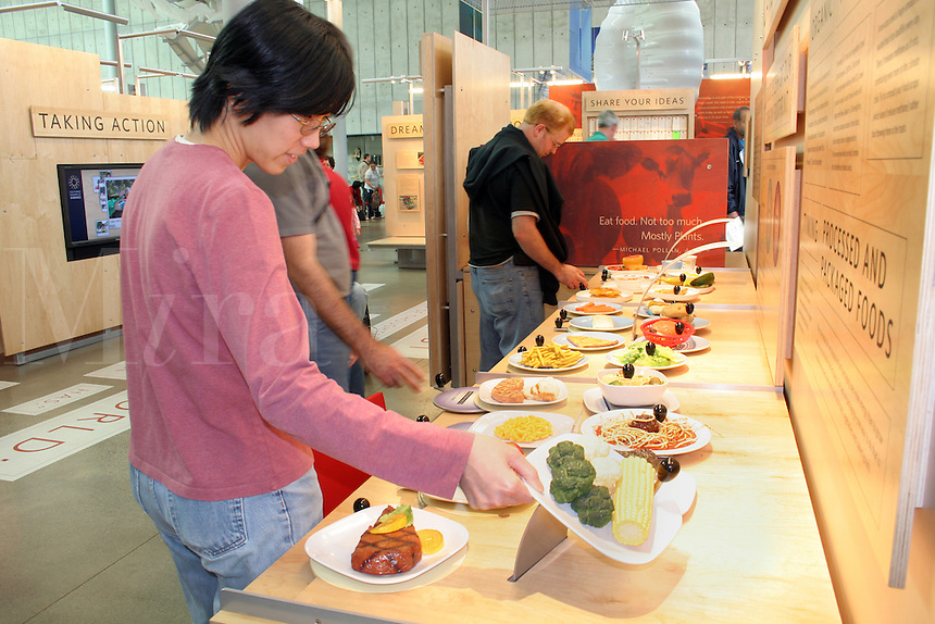 Food carbon footprint exhibit, new California Academy of Sciences, San Francisco California