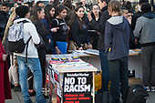 French school students at Socialist Worker stall. Parliament Square protest in support of EU migrants during vote to trigger Article 50, London