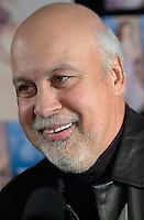 April 03, 2002, Montreal, Quebec, Canada; <br /> <br /> Rene Angelil, Celine Dion's  husband and manager<br />  talk about Dion's new ballad-heavy album, A New Day Has Come after her two-year break,  during a press conference, April 03, 2002, in Montreal, Canada.<br /> <br /> Her new album is at the number one in 18 countries