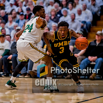 16 March 2019: UMBC Retriever Guard K.J. Jackson, a Junior from Houston, Texas, in first half action against the University of Vermont Catamounts, in the America East Championship Game at Patrick Gymnasium in Burlington, Vermont. The Catamounts defeated the Retrievers 66-49 in the Championship Game. Mandatory Credit: Ed Wolfstein Photo *** RAW (NEF) Image File Available ***