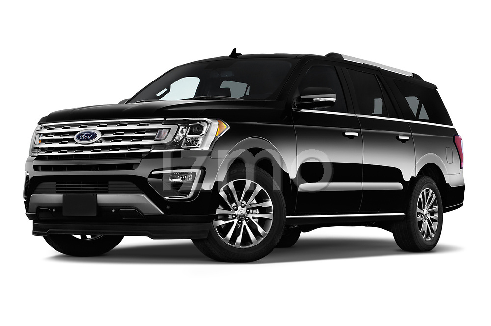 Stock pictures of low aggressive front three quarter view of a 2019 Ford Expedition XLT MAX 4x2 5 Door SUV