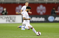 TORONTO, ON - OCTOBER 15: DeAndre Yedlin #2 of the United States sends a ball downfield during a game between Canada and USMNT at BMO Field on October 15, 2019 in Toronto, Canada.