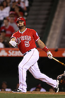 Albert Pujols  #5 of the Los Angeles Angels bats against the New York Yankees at Angel Stadium on May 29, 2012 in Anaheim,California. Los Angeles defeated New York 5-1.(Larry Goren/Four Seam Images)