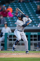 Columbus Clippers center fielder Greg Allen (1) during an International League game against the Indianapolis Indians on April 29, 2019 at Victory Field in Indianapolis, Indiana. Indianapolis defeated Columbus 5-3. (Zachary Lucy/Four Seam Images)