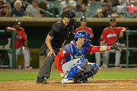 Jonah Heim (13) of the Stockton Ports sets a target against the South Division during the 2018 California League All-Star Game at The Hangar on June 19, 2018 in Lancaster, California. The North All-Stars defeated the South All-Stars 8-1.  (Donn Parris/Four Seam Images)