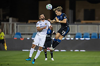 SAN JOSE, CA - OCTOBER 03: Perry Kitchen #2 of the LA Galaxy and  Florian Jungwirth #23 of the San Jose Earthquakes go up for a ball during a game between Los Angeles Galaxy and San Jose Earthquakes at Earthquakes Stadium on October 03, 2020 in San Jose, California.