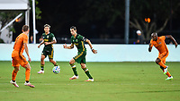 LAKE BUENA VISTA, FL - JULY 18: Diego Valeri #8 of the Portland Timbers is pursued by Óscar Boniek García #27 of the Houston Dynamo in midfield during a game between Houston Dynamo and Portland Timbers at ESPN Wide World of Sports on July 18, 2020 in Lake Buena Vista, Florida.