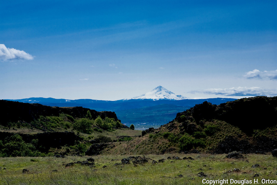 Mount Hood, Oregon, is seen in an unusual view from Dalles Mountain Road on the Washington State side of the Columbia River Gorge.