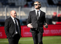 Coaches Scott Roberston (R) and Jason Ryan (L) prior to the Mitre 10 Cup rugby match between Canterbury  and Tasman Makos at AMI Stadium, Christchurch, New Zealand on Sunday, 28 August 2016. Photo: Martin Hunter / lintottphoto.co.nz