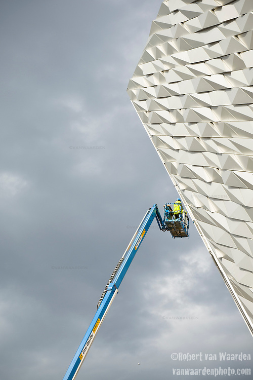 The new titanic center under construction in Belfast