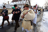 Musicians on the Manday  procession of the Busojaras Spring  festival 2010 Mohacs Hungary - Stock photos