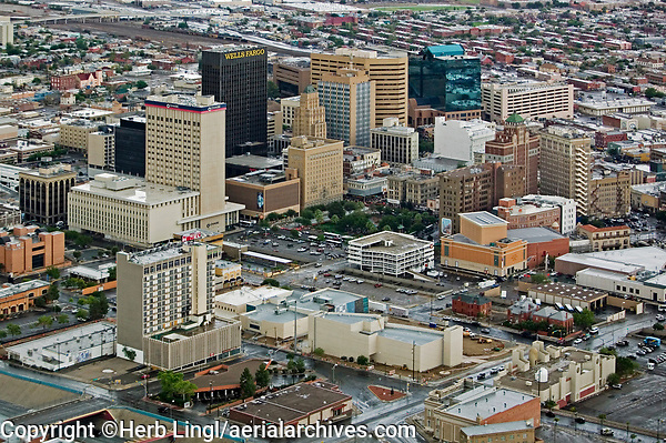 aerial photograph of the downtown El Paso, Texas  skyline