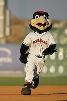 August 16 2009: KaBoom, mascot of the Lancaster JetHawks, during game against the Bakersfield Blaze at Clear Channel Stadium in Lancaster,CA.  Photo by Larry Goren/Four Seam Images