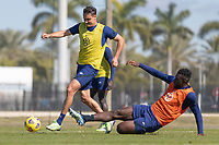 BRADENTON, FL - JANUARY 22: Aaron Long, Daryl Dike battle for a ball during a training session at IMG Academy on January 22, 2021 in Bradenton, Florida.