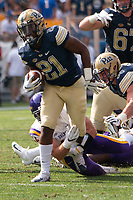 Pitt running back AJ Davis. The Pitt Panthers football team defeated the Albany Great Danes 33-7 on September 01, 2018 at Heinz Field, Pittsburgh, Pennsylvania.