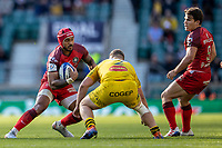 22nd May 2021; Twickenham, London, England; European Rugby Champions Cup Final, La Rochelle versus Toulouse; Cheslin Kolbe of Toulouse is tackled by Pierre Bourgarit of La Rochelle