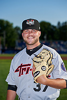 Tri-City ValleyCats pitcher Hunter Martin (37) poses for a photo before a game against the Batavia Muckdogs on July 15, 2017 at Dwyer Stadium in Batavia, New York.  Tri-City defeated Batavia 5-4.  (Mike Janes/Four Seam Images)