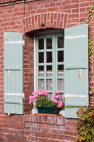Europe/France/Normandie/Basse-Normandie/14/Calvados/ Pays d'Auge/Beuvron-en-Auge: détail maison du village