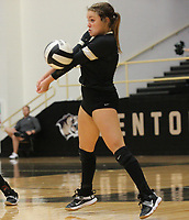 Ella Aprea (15) of Bentonville hits ball Thursday, Oct.  7, 2021, during play at Tiger Arena in Bentonville. Visit nwaonline.com/211008Daily/ for today's photo gallery.<br /> (Special to the NWA Democrat-Gazette/David Beach)