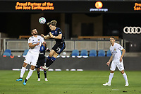 SAN JOSE, CA - OCTOBER 03: Perry Kitchen #2 of the Los Angeles Galaxy goes up for a header with Florian Jungwirth #23 of the San Jose Earthquakes during a game between Los Angeles Galaxy and San Jose Earthquakes at Earthquakes Stadium on October 03, 2020 in San Jose, California.