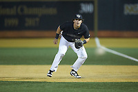 Wake Forest Demon Deacons first baseman Bobby Seymour (3) on defense against the Virginia Cavaliers at David F. Couch Ballpark on May 18, 2018 in  Winston-Salem, North Carolina.  The Cavaliers defeated the Demon Deacons 15-3.  (Brian Westerholt/Four Seam Images)
