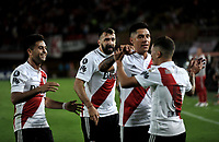 BOGOTÁ - COLOMBIA, 03-05-2018: Los jugadores de River Plate celebran el gol anotado a Independiente Santa Fe, durante partido entre Independiente Santa Fe (COL) y River Plate (ARG), de la fase de grupos, grupo D, fecha 5 de la Copa Conmebol Libertadores 2018, jugado en el estadio Nemesio Camacho El Campin de la ciudad de Bogota. / The players of River Plate (ARG) celebrate a scored goal to Independiente Santa Fe, during a match between Independiente Santa Fe (COL) and River Plate (ARG), of the group stage, group D, 5th date for the Conmebol Copa Libertadores 2018 at the Nemesio Camacho El Campin Stadium in Bogota city. Photo: VizzorImage  / Luis Ramírez / Staff.