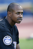 Juan Pierre of the Colorado Rockies before a 2002 MLB season game against the Los Angeles Dodgers at Dodger Stadium, in Los Angeles, California. (Larry Goren/Four Seam Images)