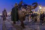 Mahouts parading painted elephants, Allahabad, India