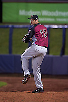 Wisconsin Timber Rattlers pitcher Scott Lieser (15) warms up in the bullpen during the second game of a doubleheader against the Quad Cities River Bandits on August 19, 2015 at Modern Woodmen Park in Davenport, Iowa.  Quad Cities defeated Wisconsin 8-1.  (Mike Janes/Four Seam Images)