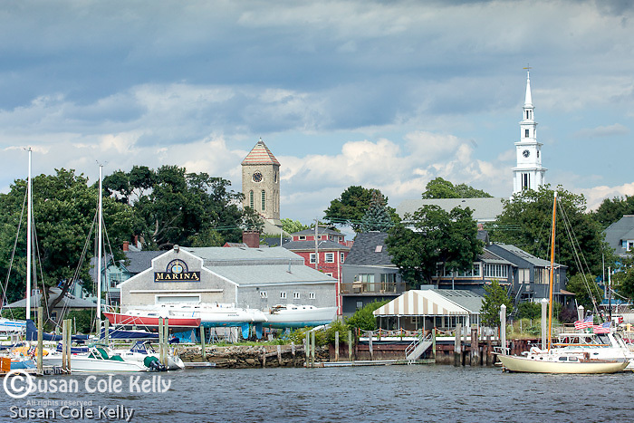 The Baptist Church and Methodist Church above the waterfront in Warren, RI, USA