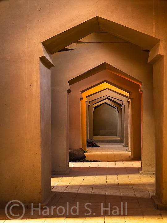 A long view down a hallway in a Mosque near Turpan, Chna.