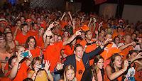 14-sept.-2013,Netherlands, Groningen,  Martini Plaza, Tennis, DavisCup Netherlands-Austria, Dutch team celebrates with students<br /> Photo: Henk Koster