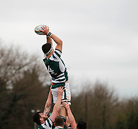 Ealing's Llewelyn Jones wins the line out during the Greene King IPA Championship match between Ealing Trailfinders and Nottingham Rugby at Castle Bar , West Ealing , England  on 18 March 2017. Photo by Carlton Myrie/PRiME Media Images.