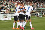 19.09.2020, Dietmar-Scholze-Stadion an der Lohmuehle, Luebeck, GER, 3. Liga, VfB Luebeck vs 1.FC Saarbruecken <br /> <br /> im Bild / picture shows <br /> Torjubel/Jubel. Torschütze/Torschuetze Tobias Jänicke/Jaenicke (1.FC Saarbruecken) jubelt ueber das Tor zum 1:1<br /> <br /> DFB REGULATIONS PROHIBIT ANY USE OF PHOTOGRAPHS AS IMAGE SEQUENCES AND/OR QUASI-VIDEO.<br /> <br /> Foto © nordphoto / Tauchnitz