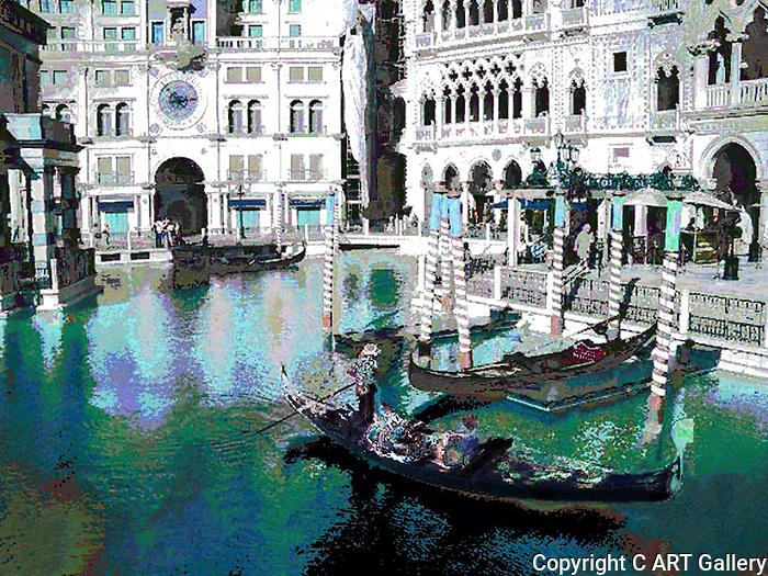 Gondola - The Venetian, Las Vegas, Nevada.  Modified photograph by Alan Mahood.