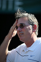OAKLAND, CA - JULY 3:  General Manager Billy Beane of the Oakland Athletics watches batting practice before the game against the Chicago Cubs at O.co Coliseum on Wednesday July 3, 2013 in Oakland, California. Photo by Brad Mangin