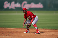 GCL Cardinals second baseman Pablo Gomez (22) during a Gulf Coast League game against the GCL Astros on August 11, 2019 at Roger Dean Stadium Complex in Jupiter, Florida.  GCL Cardinals defeated the GCL Astros 2-1.  (Mike Janes/Four Seam Images)