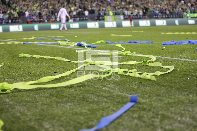 Streamers on the field of the Seattle Sounders FC after their US Open Cup victory. The Seattle Sounders FC defeated the Columbus Crew 2-1 during the US Open Cup Final at Qwest Field in Seattle,WA, on October 5, 2010.