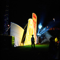 Atmosphere during the free concert organized on the 2nd of September 2011 for the 20th anniversary of the independance of Nagorno-Karabakh. Behind the policeman, the illuminated Tapik and papik (Grandmother and Grandfather) represent a traditional symbol of Karabakh.