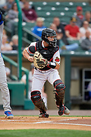 Rochester Red Wings catcher Wynston Sawyer (16) checks the runner during an International League game against the Buffalo Bisons on May 31, 2019 at Frontier Field in Rochester, New York.  Rochester defeated Buffalo 5-4 in ten innings.  (Mike Janes/Four Seam Images)