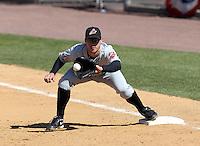Akron Aeros second baseman Davis Stoneburner #2 during a game against the Binghamton Mets at NYSEG Stadium on April 7, 2012 in Binghamton, New York.  Binghamton defeated Akron 2-1.  (Mike Janes/Four Seam Images)
