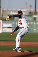 Carlos Polanco (18) of the Lancaster JetHawks pitching against the Rancho Cucamonga Quakes at The Hanger on April 20, 2017 in Lancaster, California. Lancaster defeated Rancho Cucamonga 4-0. (Larry Goren/Four Seam Images)