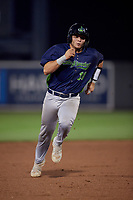 Vermont Lake Monsters Jose Rivas (18) running the bases during a NY-Penn League game against the Aberdeen IronBirds on August 19, 2019 at Leidos Field at Ripken Stadium in Aberdeen, Maryland.  Aberdeen defeated Vermont 6-2.  (Mike Janes/Four Seam Images)